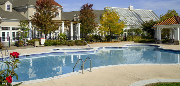 A commercial pool maintained by American Pool in Great Notch Village in Florida USA