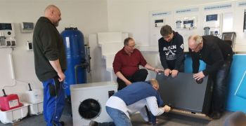 Aquark makes its first European training tour with its patented Inverter Mr. Silence pool heat pumps